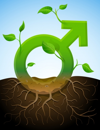 Growing male symbol like plant with leaves and roots  Stylized plant in shape of men sign in ground  Qualitative vector  EPS-10  illustration about men biology and health, male psychology  father, son , sex differences, gender role, etc