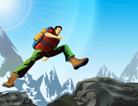 Man with backpack jump in mountains  Tourist jumps from rock to rock  Qualitative vector  EPS-10  illustration of hiking, tourism, sport, active recreation, etc