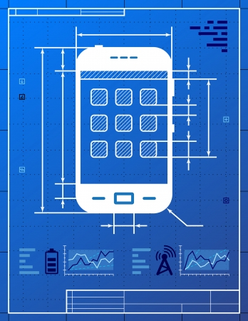 communication metaphor: Smartphone like blueprint drawing  Stylized drafting of smartphone on blueprint paper  Qualitative vector  EPS-10  illustration about smartphone, touchscreen devices, telecommunication industry, mobile technology, digital electronics, etc