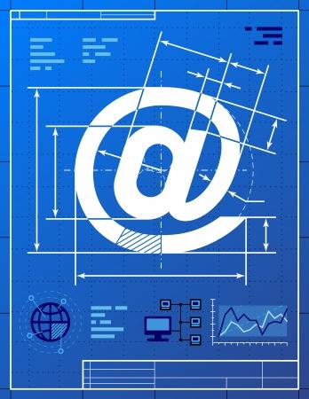 symbols metaphors: Email symbol like blueprint drawing