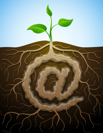 At sign like root of plant Stock Vector - 24874972