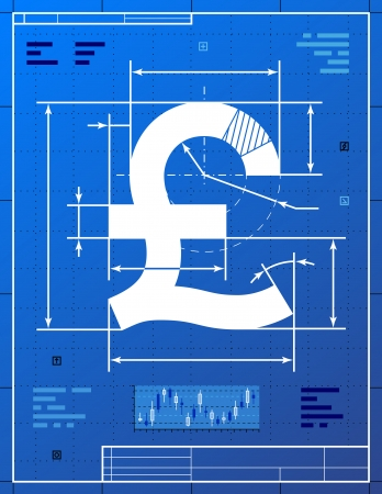 sterling: Pound sterling sign like blueprint drawing