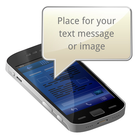 Smartphone with blank message bubble   Vector