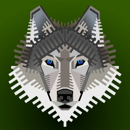 gray wolf black and white: Geometric wolf face