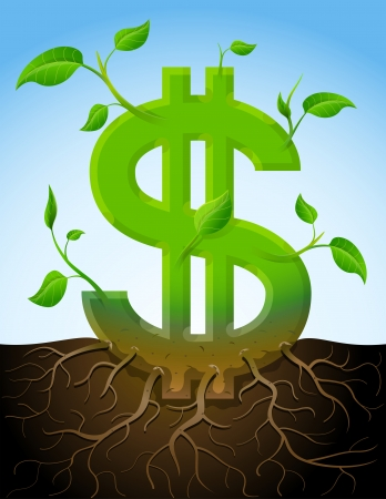 dividends: Growing dollar symbol like plant with leaves and roots.