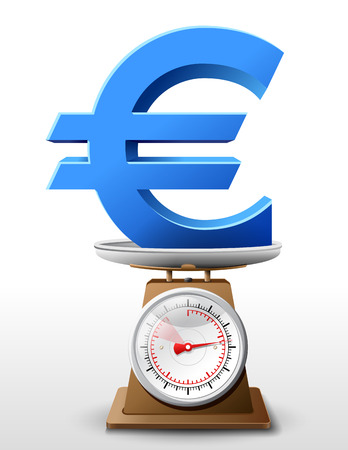 weighing scale: Euro sign on scale pan. Weighing money symbol on scales.