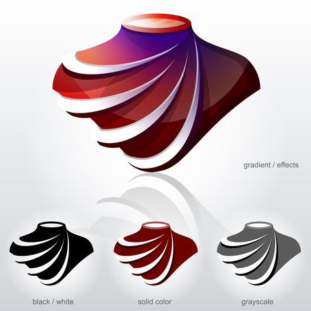 Symbol w kształcie popiersia z łuków jak fałdy przekątnej tkaniny.