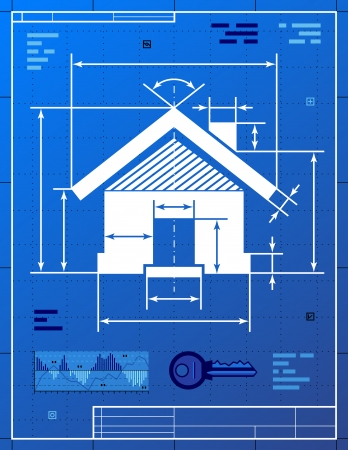 Home symbool als blauwdruk tekening.