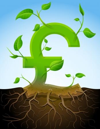 libra esterlina: Creciendo libra esterlina símbolo como la planta con hojas y raíces. Vectores