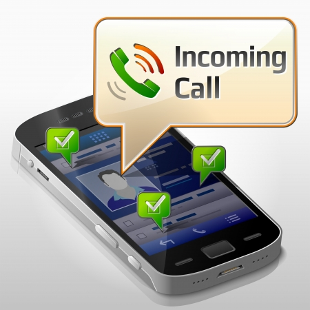 Smartphone with message bubble about incoming call.  Vector