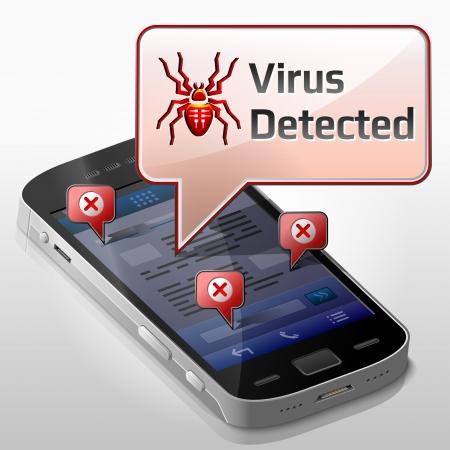 spyware: Smartphone con el mensaje de la burbuja sobre el virus de computadora.