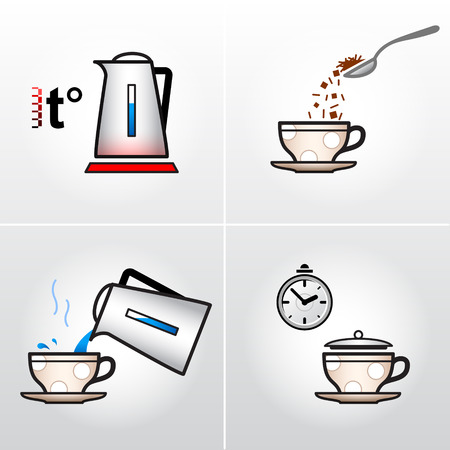 brew: Icon set for process of brewing tea or coffee.