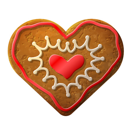 gingerbread heart: Gingerbread heart decorated colored icing  Holiday cookie in shape of heart  Qualitative vector     illustration for valentines day, wedding, cooking, romantic relationship, food, love, etc