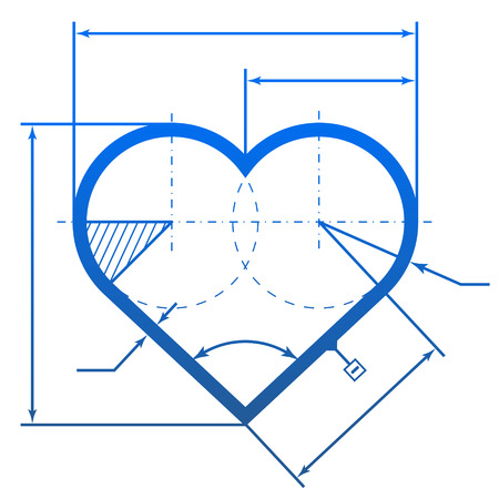 Heart symbol with dimension lines  Element of blueprint drawing in shape of heart  Qualitative    illustration for valentines day, engineering, wedding, health, love, romantic relationship, etc Illustration