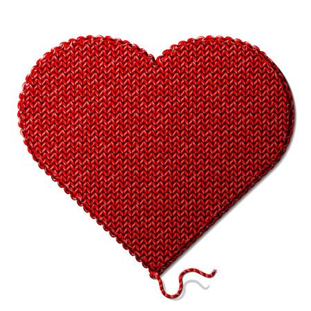 심장의 모양에 뜨개질의 조각이 발렌타인 데이를위한 질적 벡터 일러스트 레이 션에 서명, 로맨틱 한 관계, 건강, 사랑, 핸드 메이드 등 일러스트