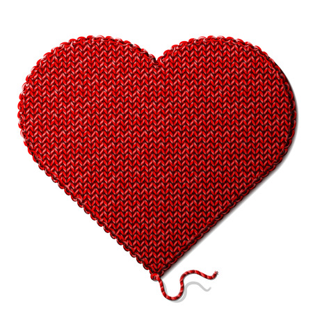 Fragment of knitting in shape of heart sign  Qualitative vector     illustration for valentines day, romantic relationship, health, love, handmade, etc Illustration