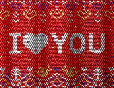 stockinet: Card of Valentines Day with knitted texture  Jumper fragment with I LOVE YOU  Qualitative vector     illustration for valentines day, wedding, romantic relationship, love, etc Illustration