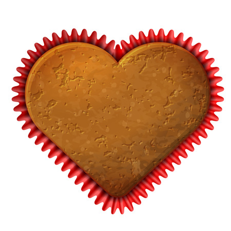 Heart cupcake in baking cup  Cupcake liner with cookie in shape of heart  Vector