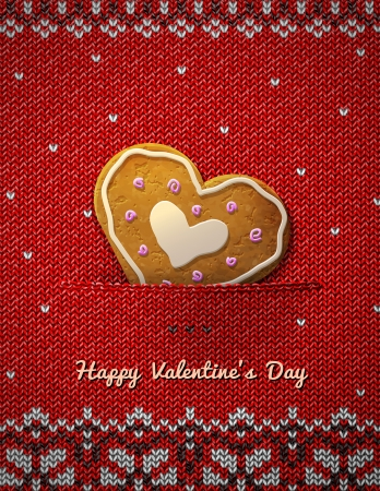 stockinet: Heart cookie on knitted Jumper fragment with holiday gingerbread  Illustration