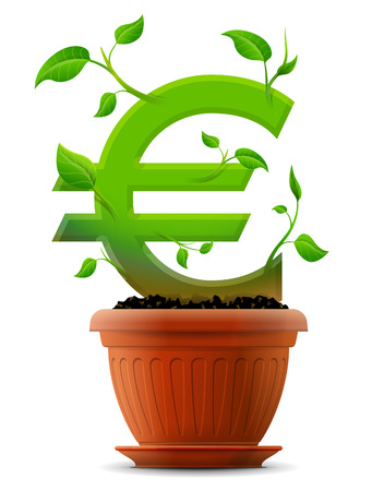 Growing euro symbol like plant with leaves in flower pot Illustration