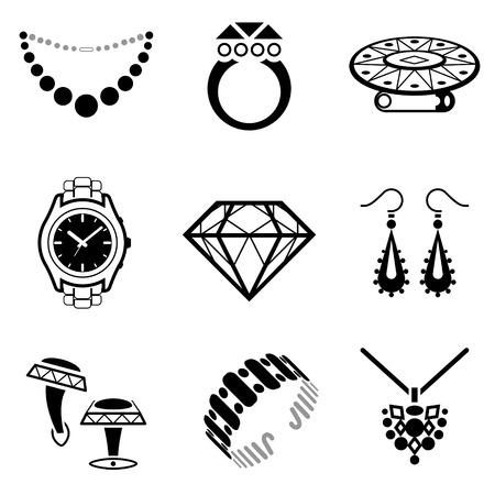 aretes: Conjunto de iconos de la joyería Colección de iconos en blanco y negro para la industria de lujo