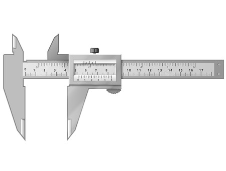 Nonio aislado en blanco Herramienta para medir la distancia con alta precisión