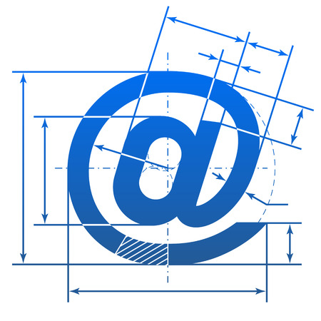 Email @ symbol with dimension lines Stock Vector - 26050398