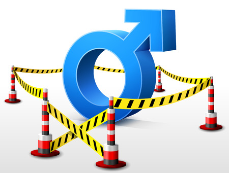 Male symbol located in restricted area  Dangerous man sign surrounded barrier tape  Qualitative vector  EPS-10  illustration about mens biology and health, male psychology  father, son , sex differences, gender role, etc
