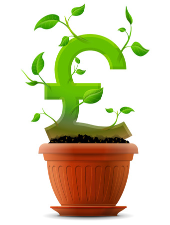 pound: Growing pound symbol like plant with leaves in flower pot  Stylized plant in shape of pound sterling sign in ground  Qualitative vector  EPS-10  concept for banking, financial industry, economy, accounting, etc