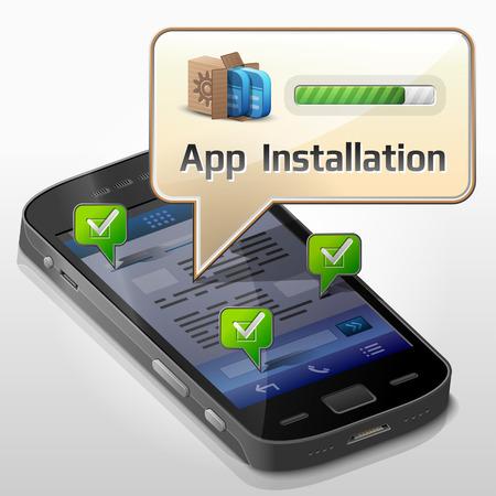 설치: 휴대 전화의 화면에 팝업 응용 프로그램 설치 대화 상자에 대한 메시지 거품 스마트 폰 일러스트