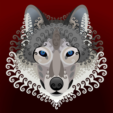 gray wolf black and white: Wolf face with swirls