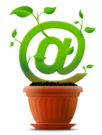 Growing mail @ symbol like plant with leaves in flower pot Stock Vector - 26034201