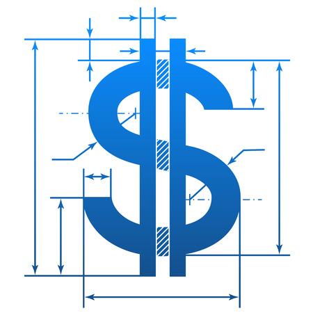 Dollar symbool met maatlijnen Stock Illustratie