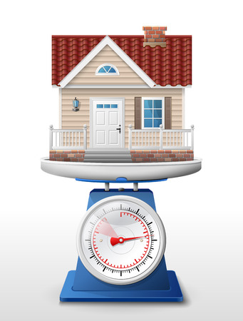 weighing: House sign on scale pan  Weighing home symbol on scales  Qualitative vector  EPS-10  illustration about architecture, building, real estate, construction, development, housing, etc