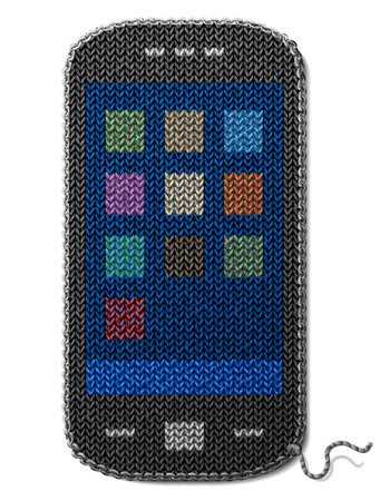 Smartphone symbol of knitted fabric isolated on white background  Fragment of knitting in shape of phone  Qualitative vector  EPS-10  illustration about smartphone, telecommunication industry, knitting, mobile technology, digital devices, handmade, etc