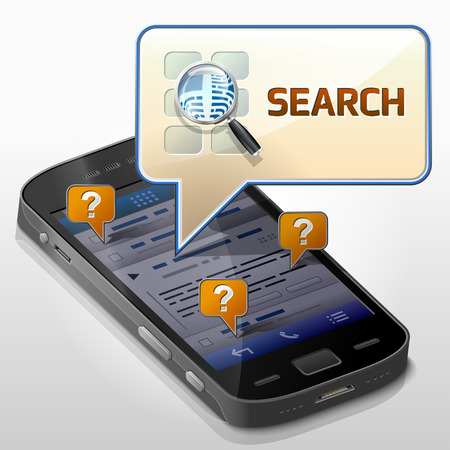 pop up: Smartphone met tekstballon dialoogvenster pop-up op het scherm van de telefoon