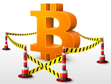 confiscation: Bitcoin symbol located in restricted area