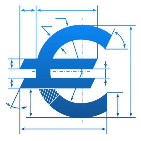 dimension: Euro symbol with dimension lines   Illustration