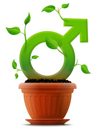 꽃 냄비에 잎 식물처럼 성장하는 남성 기호