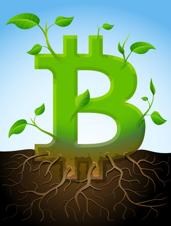 burgeon: Growing bitcoin symbol like plant with leaves and roots