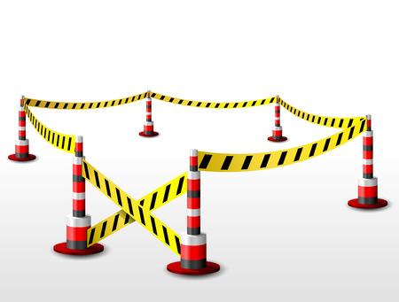 quarantine: Empty fenced restricted area   Illustration