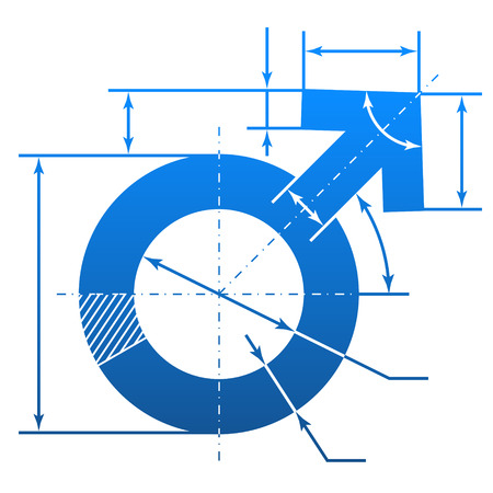 Male symbol with dimension lines  Element of blueprint drawing in shape of man sign  Qualitative vector  EPS-10  illustration about man biology and health, male psychology  father, son , sex differences, gender role, etc