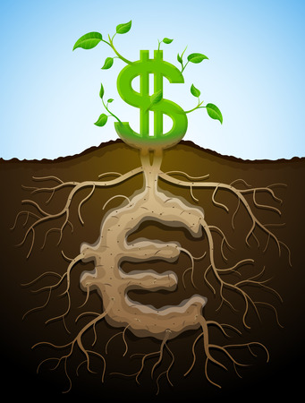 Growing dollar sign like plant with leaves and euro sign like root  Plant, roots and tuber in shape of money symbol  Qualitative vector  EPS-10  illustration for banking, financial industry, economy, accounting, etc Illustration