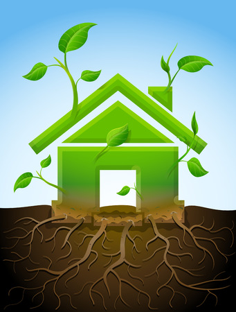 Growing house symbol like plant with leaves and roots  Stylized plant in shape of home sign in ground  Qualitative vector  EPS-10  illustration about architecture, green building, real estate, construction, development, sustainability, etc