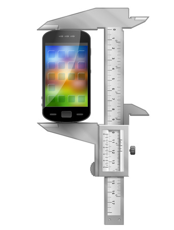 caliper: Caliper measures smartphone  Concept of phone symbol and measuring tool  Qualitative vector  EPS-10  illustration about smartphone, communication, mobile technology, digital devices, phone development, etc Illustration