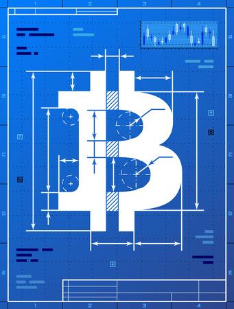 Bitcoin ondertekenen als blauwdruk tekening Gestileerde opstellen van geld symbool op blauwdruk papier Kwalitatieve vector EPS-10 illustratie voor het bankwezen, de financiële sector, cryptocurrency, economie, boekhouding, enz.