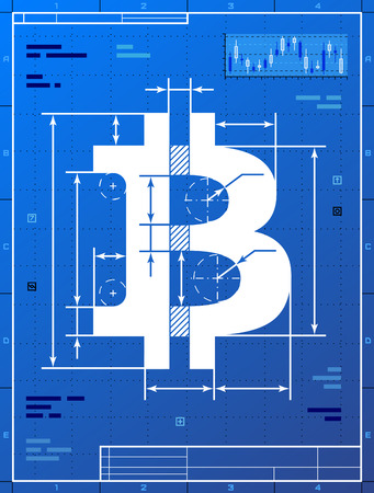 Bitcoin sign like blueprint drawing  Stylized drafting of money symbol on blueprint paper  Qualitative vector  EPS-10  illustration for banking, financial industry, cryptocurrency, economy, accounting, etc
