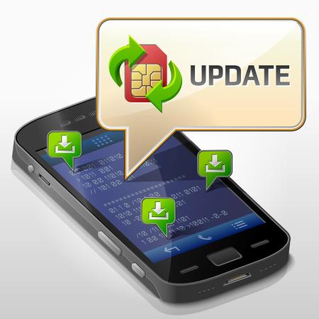 알림: 응용 프로그램이 메시지를 표시 스마트 폰, 통신, 모바일 기술, 알림 등에 대한 전화 정성 벡터의 화면 위에 팝업 업데이트 대화 상자에 대한 메시지 거품 스마트 폰 EPS-10 그림 일러스트