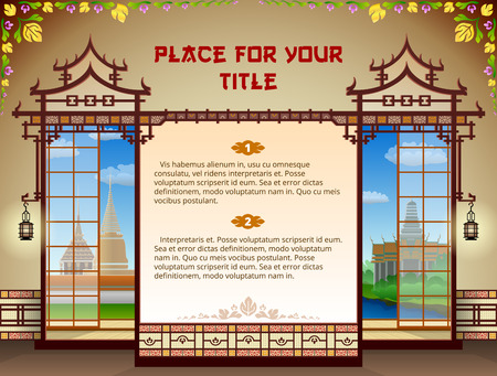 Graphic layout with traditional thai elements  Oriental template design in Thailand style  Qualitative vector  EPS-10  thai template for industry of travel, culture, food, massage, religion, etc