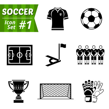 Icons set of soccer elements  Collection of symbols for association football Vector